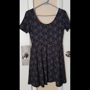 H&M Black and Gray Floral Print Skater Dress